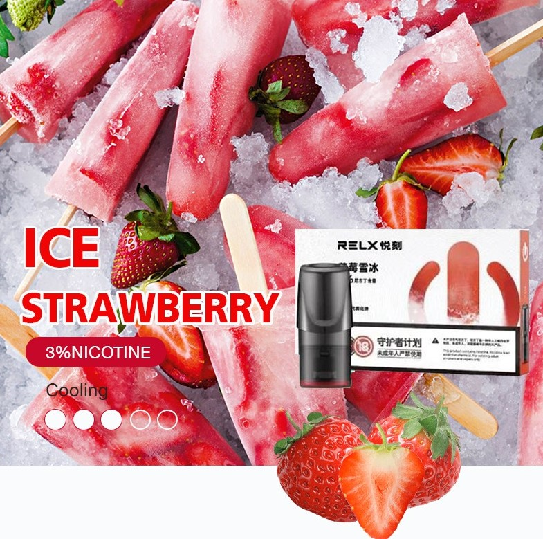 RELX Pod Ice  Strawberry (จีน)  (Pack 3 ชิ้น)